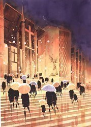 Cathedral Steps, Coventry by Peter J Rodgers -  sized 20x28 inches. Available from Whitewall Galleries